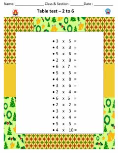Interactive worksheet Table test 2 - 6