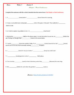 Interactive worksheet Simple Past  and Past continuous