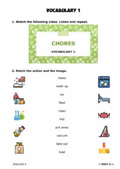 Interactive worksheet ENGLISH 4 - U4. Vocabulary 1