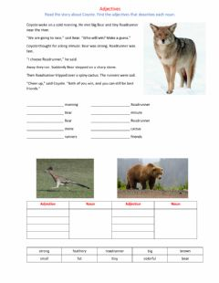 Ficha interactiva Coyote Story with Adjectives