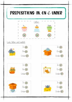 Interactive worksheet Prepositions: in, on and under