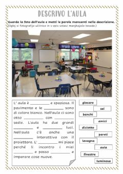 Interactive worksheet Descrivo l'aula