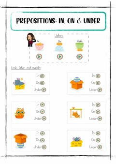 Interactive worksheet Prepositions: n, on and under