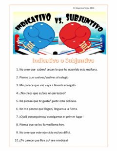 Interactive worksheet Subjuntivo o Indicativo