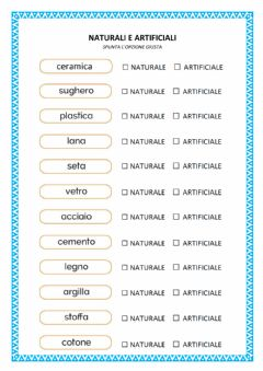 Interactive worksheet Materiali naturali e artificiali