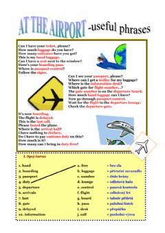 Interactive worksheet Airport - useful phrases