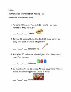 Interactive worksheet Adding tens word problem