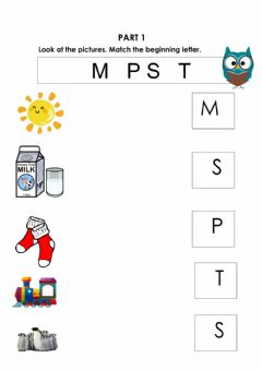 Interactive worksheet Letters M-S-P-T