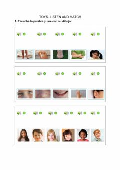 Ficha interactiva Body parts and hair