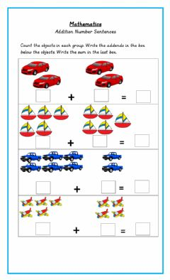 Interactive worksheet Addition to 10 Number Sentence