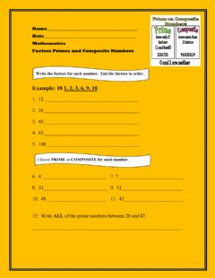 Interactive worksheet Factors Prime and Composite Numbers