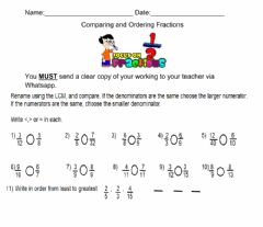 Ficha interactiva Comparing and Ordering Fractions
