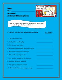 Interactive worksheet Action and Linking Verbs