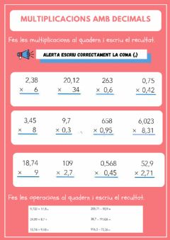 Interactive worksheet Multiplicacions amb decimals