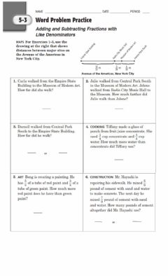 Interactive worksheet Adding and Subtracting Like Fractions