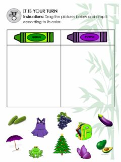 Interactive worksheet DRAG-AND-DROP CLASSIFYING OBJECTS INTO GREEN AND PURPLE
