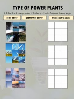 Interactive worksheet Type of Power Plants