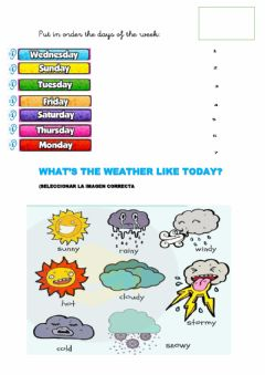 Interactive worksheet Routine days of the week weather