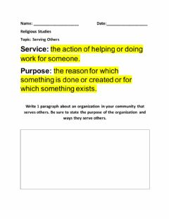 Interactive worksheet Serving Others