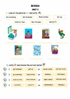 Interactive worksheet Review routines, hobbies, time and days of the week