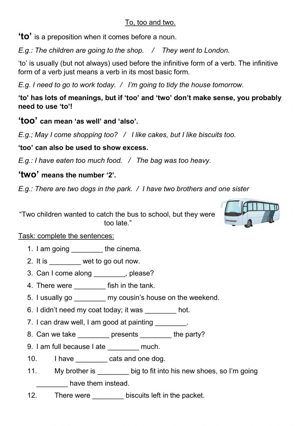 To, too, two worksheet For To Too Two Worksheet