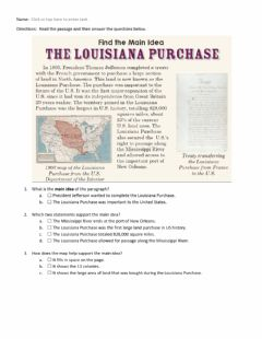Interactive worksheet The Louisiana Purchase Main Idea Worksheet