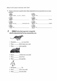 Interactive worksheet Brainy 4 Unit 5 Lesson 2 short test: CAN - CAN'T