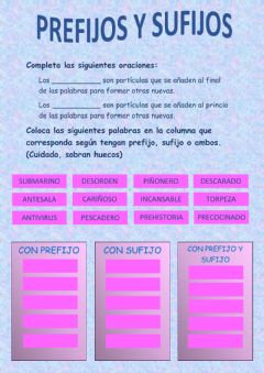 Interactive worksheet Prefijos y sufijos