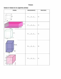 Interactive worksheet Volumen de prismas