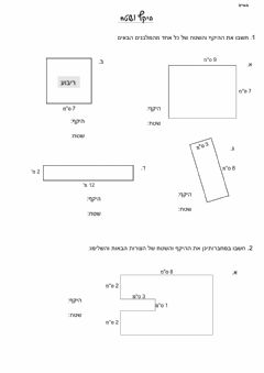 Interactive worksheet היקף ושטח כיתה ו