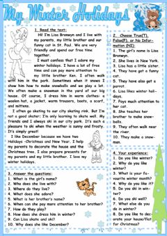 Interactive worksheet Winter  holidays