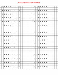 Interactive worksheet Place Value and Mental Math