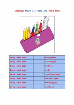 Interactive worksheet There is e there are nell'astuccio