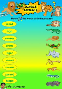 Ficha interactiva Jungle Animals (Match the words with the pictures)