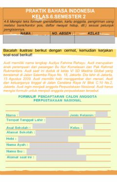 Interactive worksheet Mengisi Formulir (Bahasa Indonesia tema 7)
