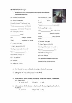 Interactive worksheet I'm with you, Avril Lavigne Song