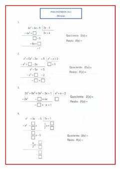 Interactive worksheet Polinómios 10.1