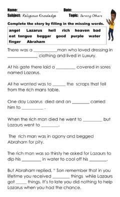 Interactive worksheet Serving Others- The Rich man and Lazarus