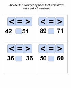 Interactive worksheet Comparing Numbers cluster 4 task 2