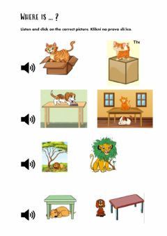 Ficha interactiva Preposition in, on, under, next to