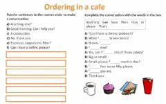 Interactive worksheet Ordering in a cafe