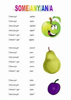 Interactive worksheet SOME-ANY-A-AN
