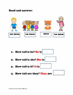 Interactive worksheet How tall?
