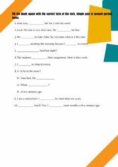 Interactive worksheet Past Tense and Present Perfect Tense