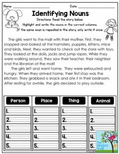 Interactive worksheet Noun in a story