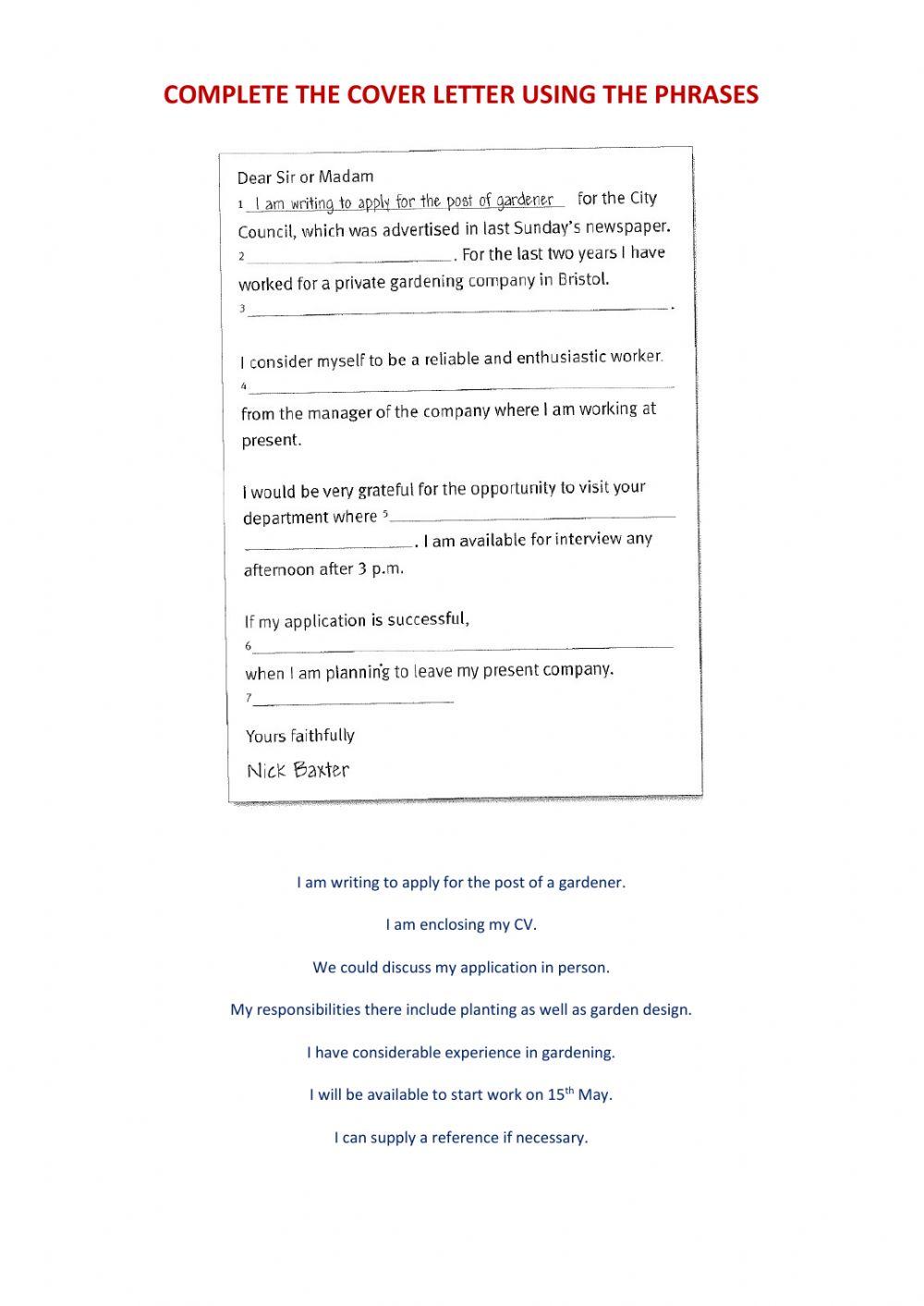 Cover Letter Exercise