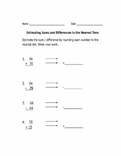 Interactive worksheet Estimating sums and differences