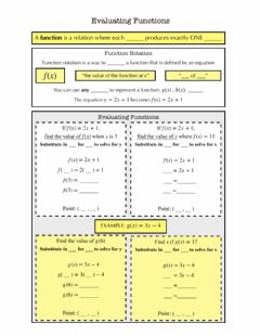 Interactive worksheet Evaluating Functions Notes