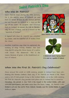 Interactive worksheet St Patrick's day