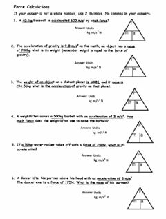 Interactive worksheet PS-10-Force Problems